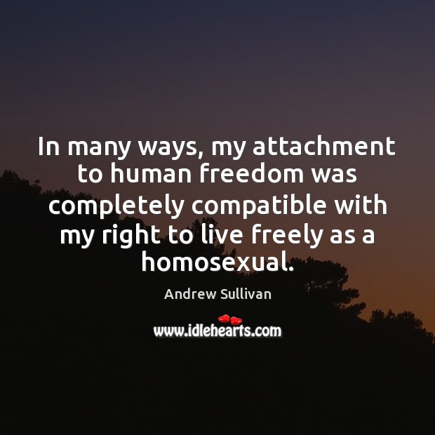 In many ways, my attachment to human freedom was completely compatible with Andrew Sullivan Picture Quote