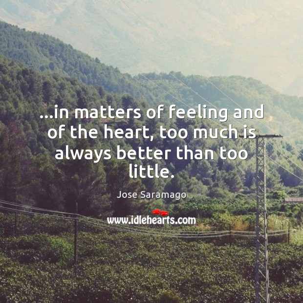 Image, …in matters of feeling and of the heart, too much is always better than too little.