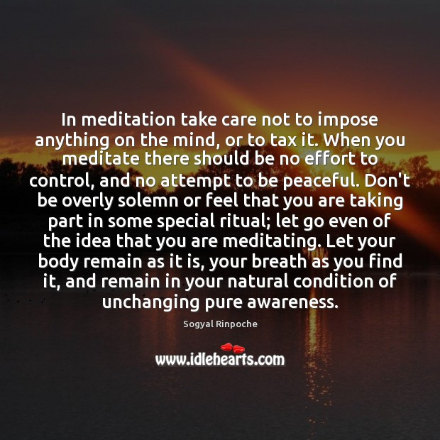 In meditation take care not to impose anything on the mind, or Sogyal Rinpoche Picture Quote