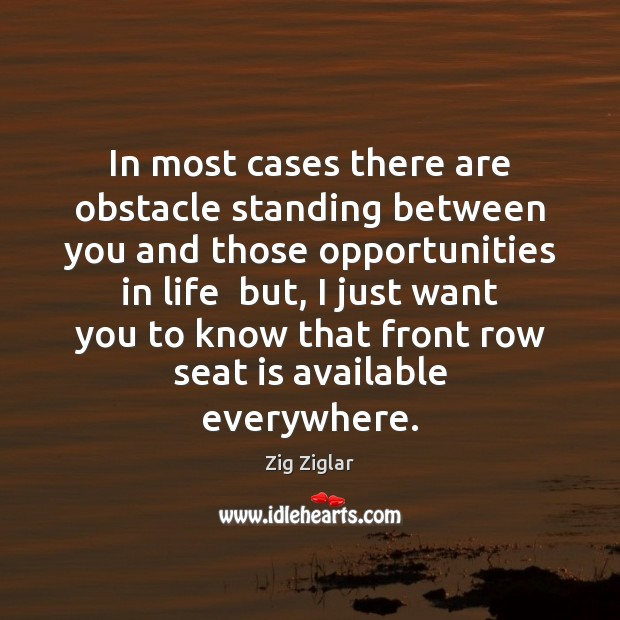 In most cases there are obstacle standing between you and those opportunities Image