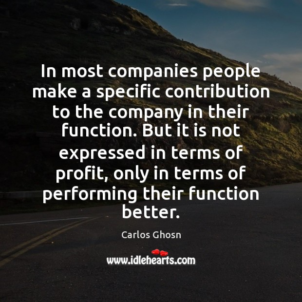 Image, In most companies people make a specific contribution to the company in