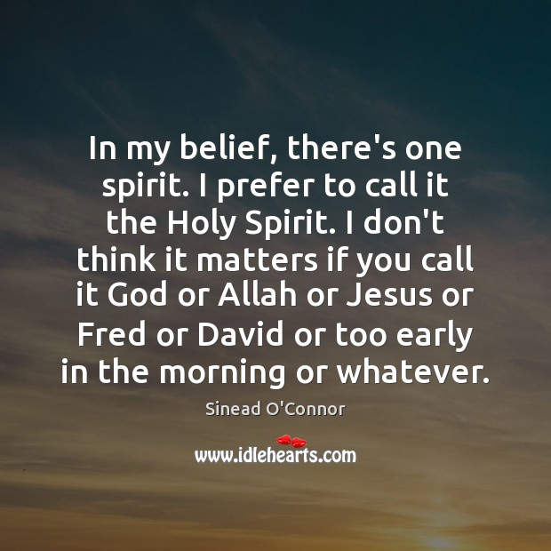 In my belief, there's one spirit. I prefer to call it the Sinead O'Connor Picture Quote