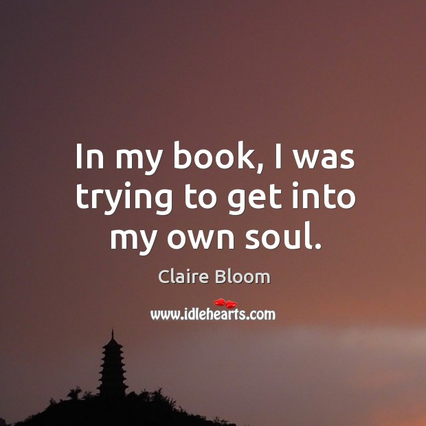 Image, In my book, I was trying to get into my own soul.