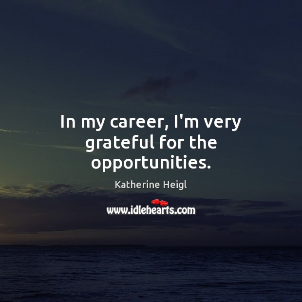 In my career, I'm very grateful for the opportunities. Katherine Heigl Picture Quote