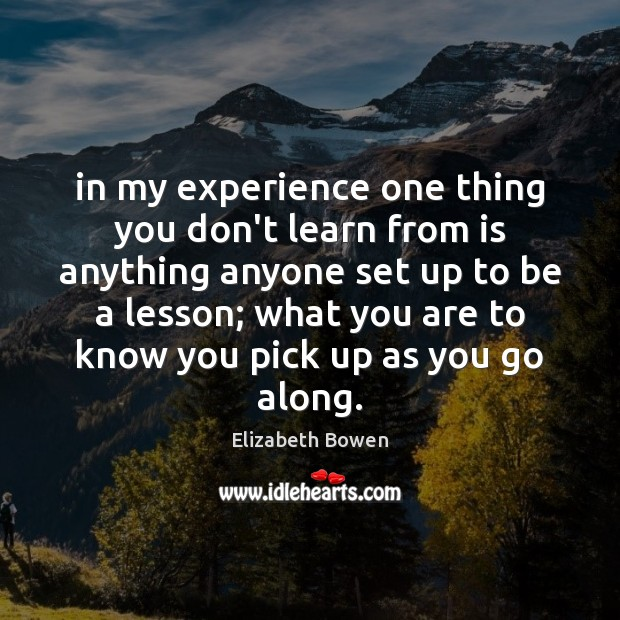 In my experience one thing you don't learn from is anything anyone Elizabeth Bowen Picture Quote