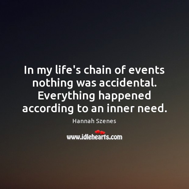 In my life's chain of events nothing was accidental. Everything happened according Image