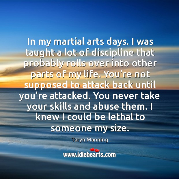 In my martial arts days. I was taught a lot of discipline Taryn Manning Picture Quote