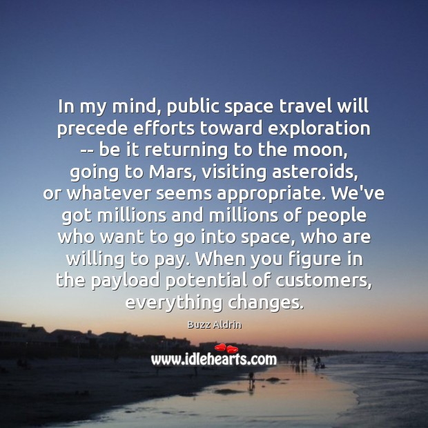 In my mind, public space travel will precede efforts toward exploration — Buzz Aldrin Picture Quote