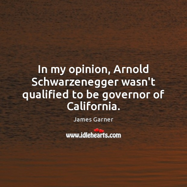 In my opinion, Arnold Schwarzenegger wasn't qualified to be governor of California. Image