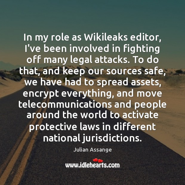 In my role as Wikileaks editor, I've been involved in fighting off Image
