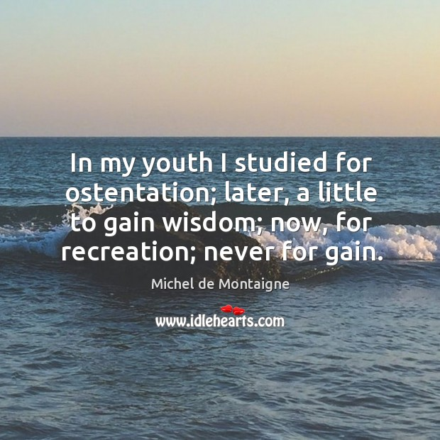 Image, In my youth I studied for ostentation; later, a little to gain