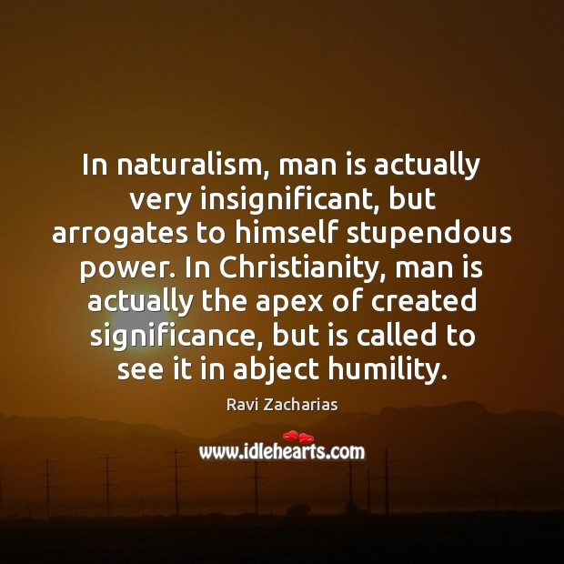 Image, In naturalism, man is actually very insignificant, but arrogates to himself stupendous