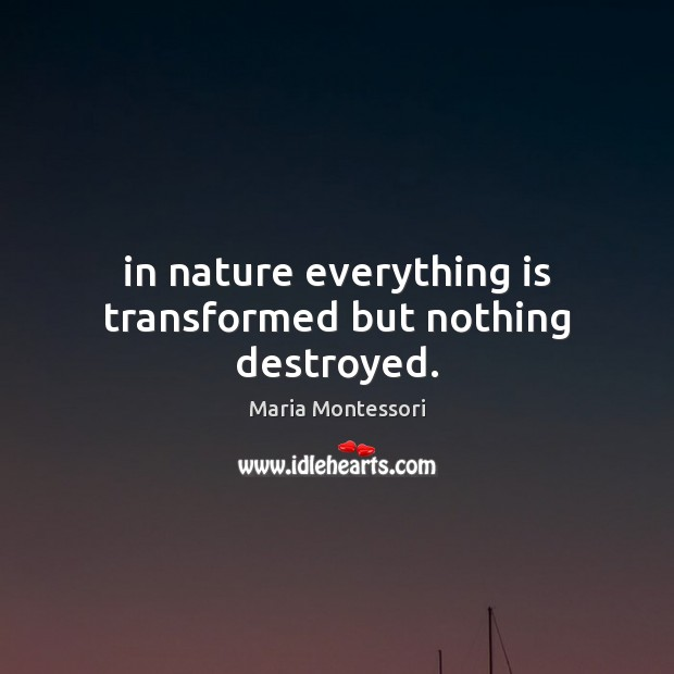In nature everything is transformed but nothing destroyed. Nature Quotes Image