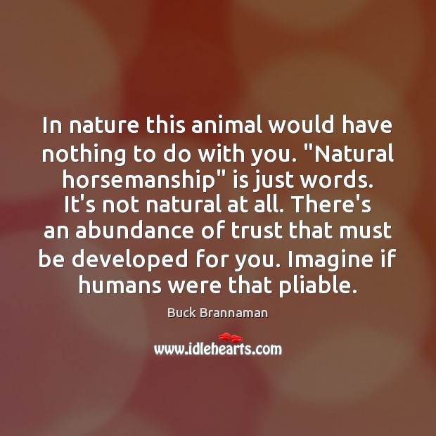 """In nature this animal would have nothing to do with you. """"Natural Image"""