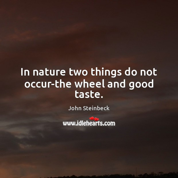 In nature two things do not occur-the wheel and good taste. Image