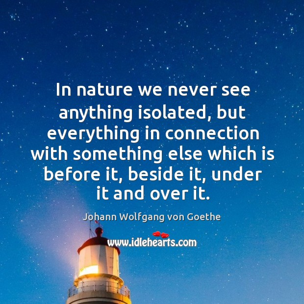 In nature we never see anything isolated Image