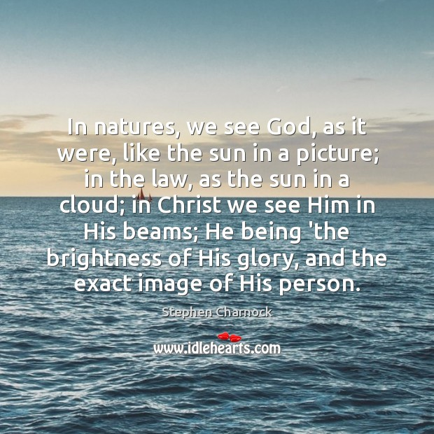 In natures, we see God, as it were, like the sun in Image