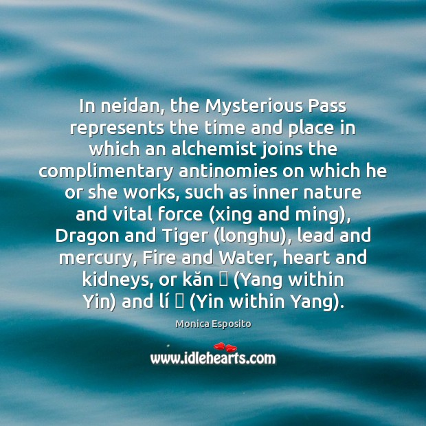 In neidan, the Mysterious Pass represents the time and place in which Image