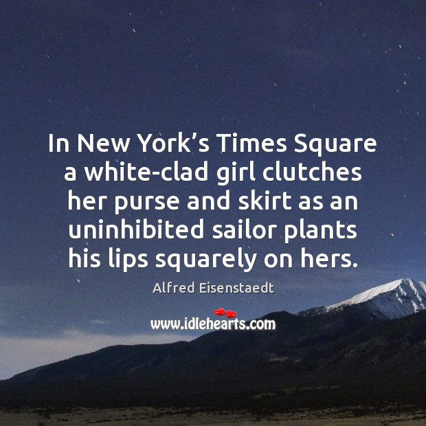 Image, In New York's Times Square a white-clad girl clutches her purse