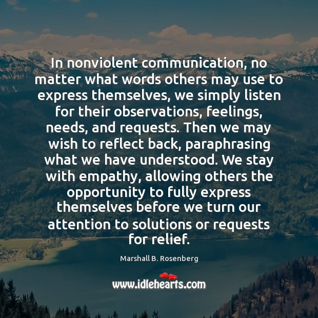 Image, In nonviolent communication, no matter what words others may use to express