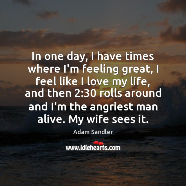 In one day, I have times where I'm feeling great, I feel Adam Sandler Picture Quote