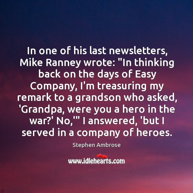 """In one of his last newsletters, Mike Ranney wrote: """"In thinking back Image"""