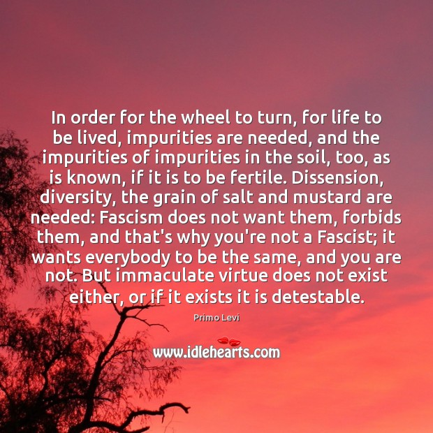In order for the wheel to turn, for life to be lived, Primo Levi Picture Quote