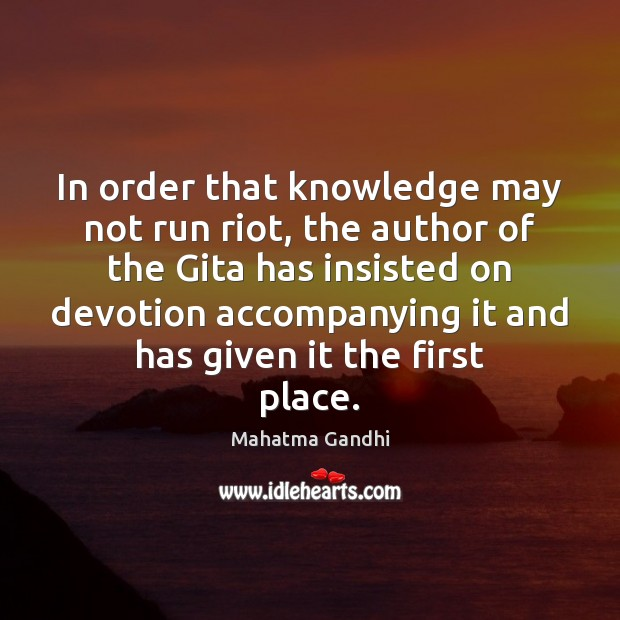 In order that knowledge may not run riot, the author of the Image