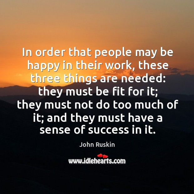 Image, In order that people may be happy in their work, these three things are needed:
