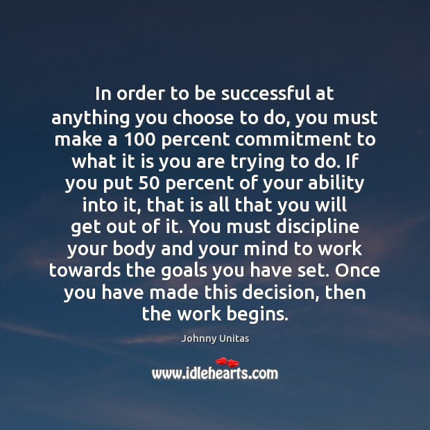 In order to be successful at anything you choose to do, you To Be Successful Quotes Image