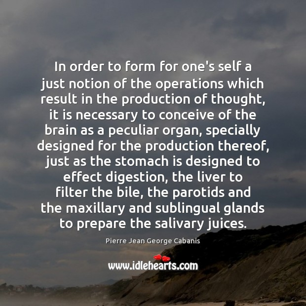 In order to form for one's self a just notion of the Pierre Jean George Cabanis Picture Quote