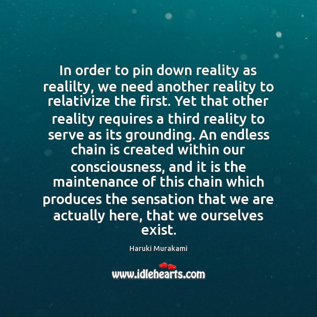 In order to pin down reality as realilty, we need another reality Image