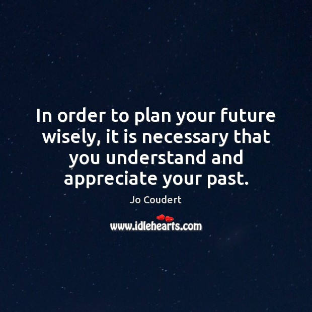 In order to plan your future wisely, it is necessary that you Jo Coudert Picture Quote