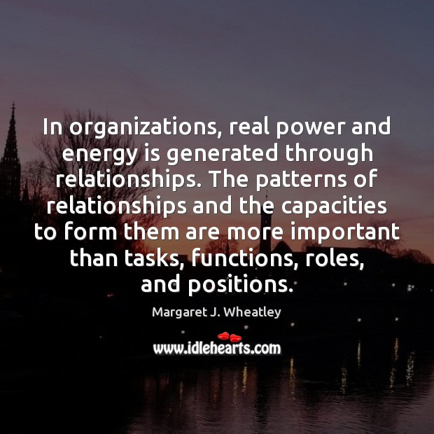 In organizations, real power and energy is generated through relationships. The patterns Image
