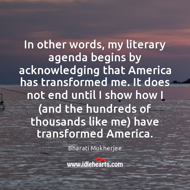 In other words, my literary agenda begins by acknowledging that America has Image