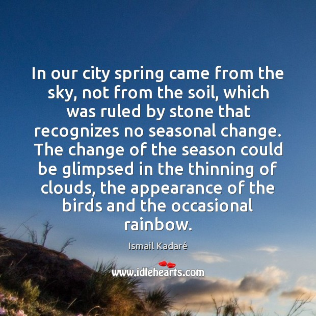 In our city spring came from the sky, not from the soil, Image