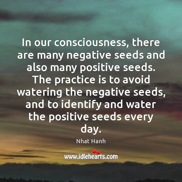 In our consciousness, there are many negative seeds and also many positive Nhat Hanh Picture Quote