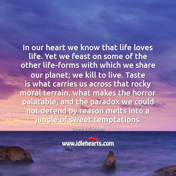 In our heart we know that life loves life. Yet we feast Image