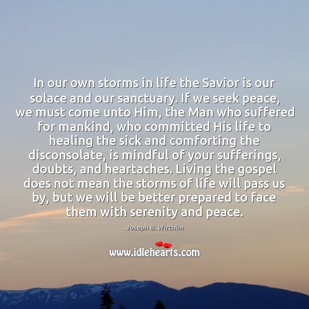 In our own storms in life the Savior is our solace and Image