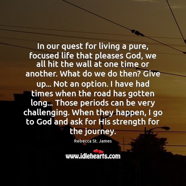 In our quest for living a pure, focused life that pleases God, Rebecca St. James Picture Quote