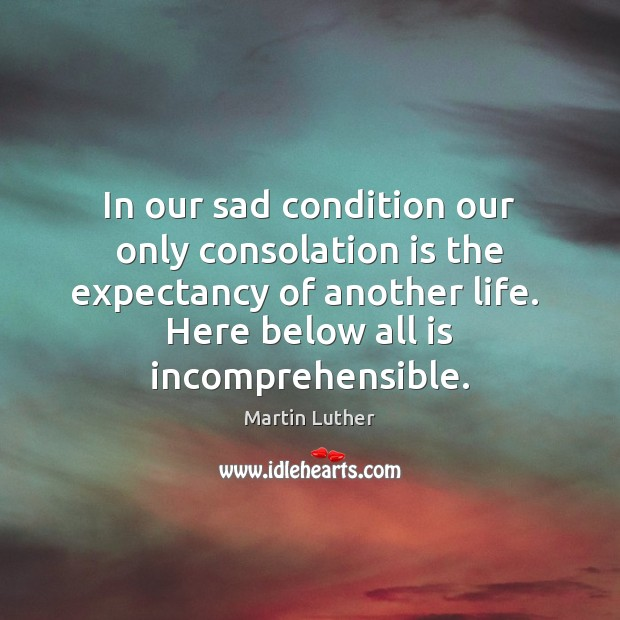 In our sad condition our only consolation is the expectancy of another Image