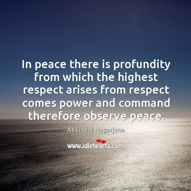 Image, In peace there is profundity from which the highest respect arises from