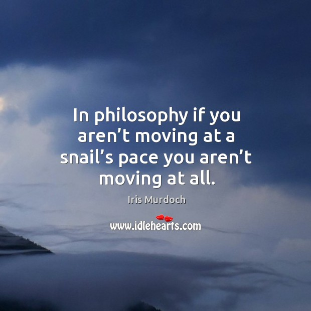 In philosophy if you aren't moving at a snail's pace you aren't moving at all. Image