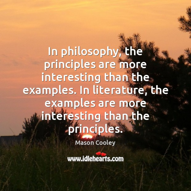 In philosophy, the principles are more interesting than the examples. In literature, Image