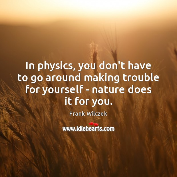 In physics, you don't have to go around making trouble for yourself Frank Wilczek Picture Quote