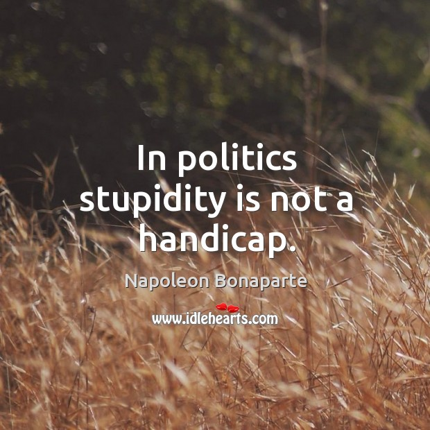 Image, In politics stupidity is not a handicap.