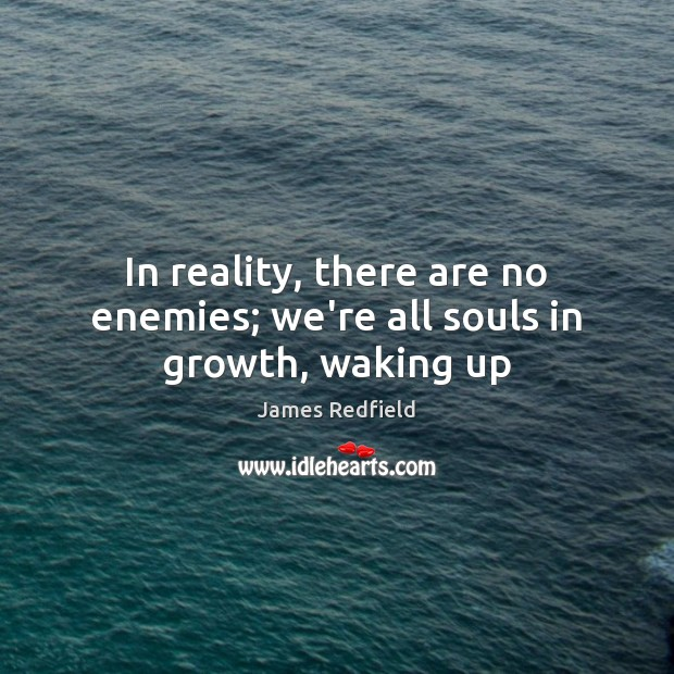 In reality, there are no enemies; we're all souls in growth, waking up James Redfield Picture Quote