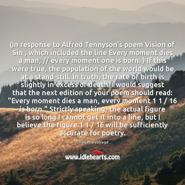 (In response to Alfred Tennyson's poem Vision of Sin , which included the Image