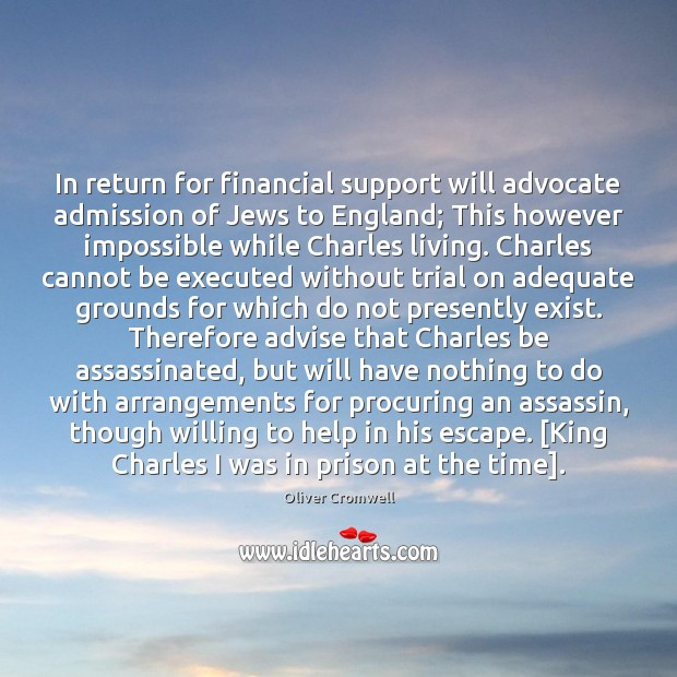 In return for financial support will advocate admission of Jews to England; Image