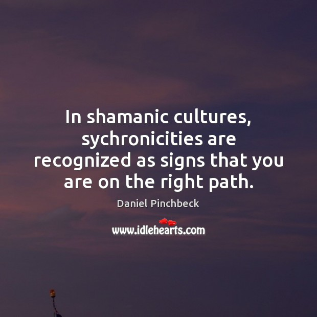 In shamanic cultures, sychronicities are recognized as signs that you are on Image